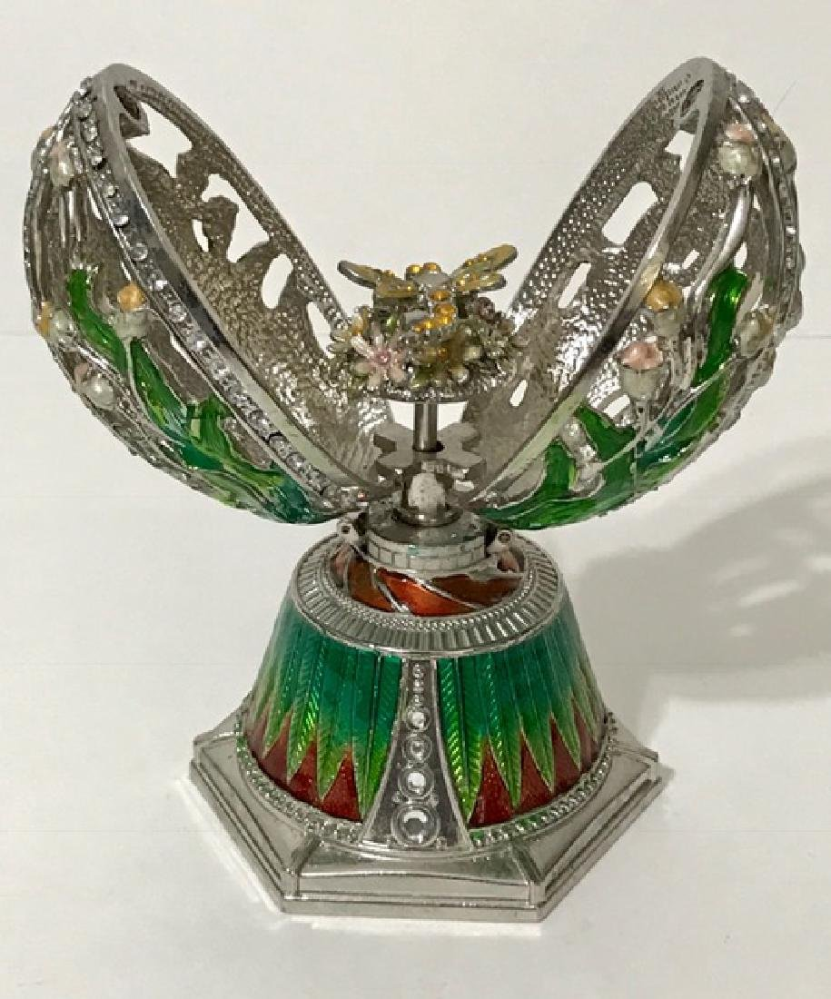Large Enameled Russian Coat of Arms EGG Music Box