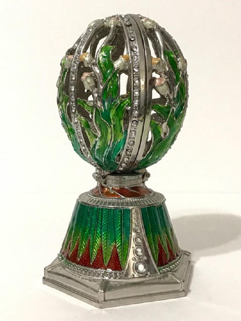 Large Enameled Russian Coat of Arms EGG Music Box - 2