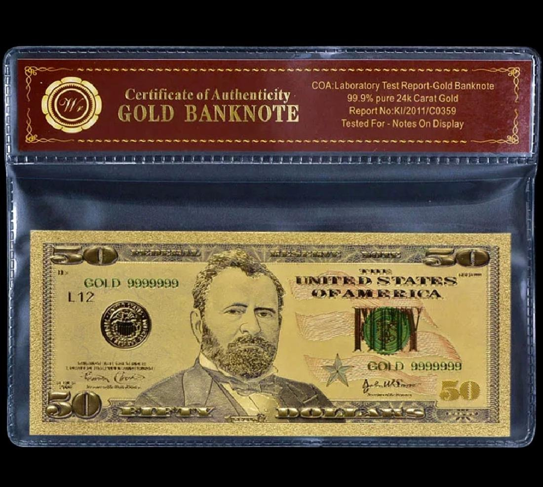 99.9% Pure 24k Lab Tested $50 Gold Foil Banknote