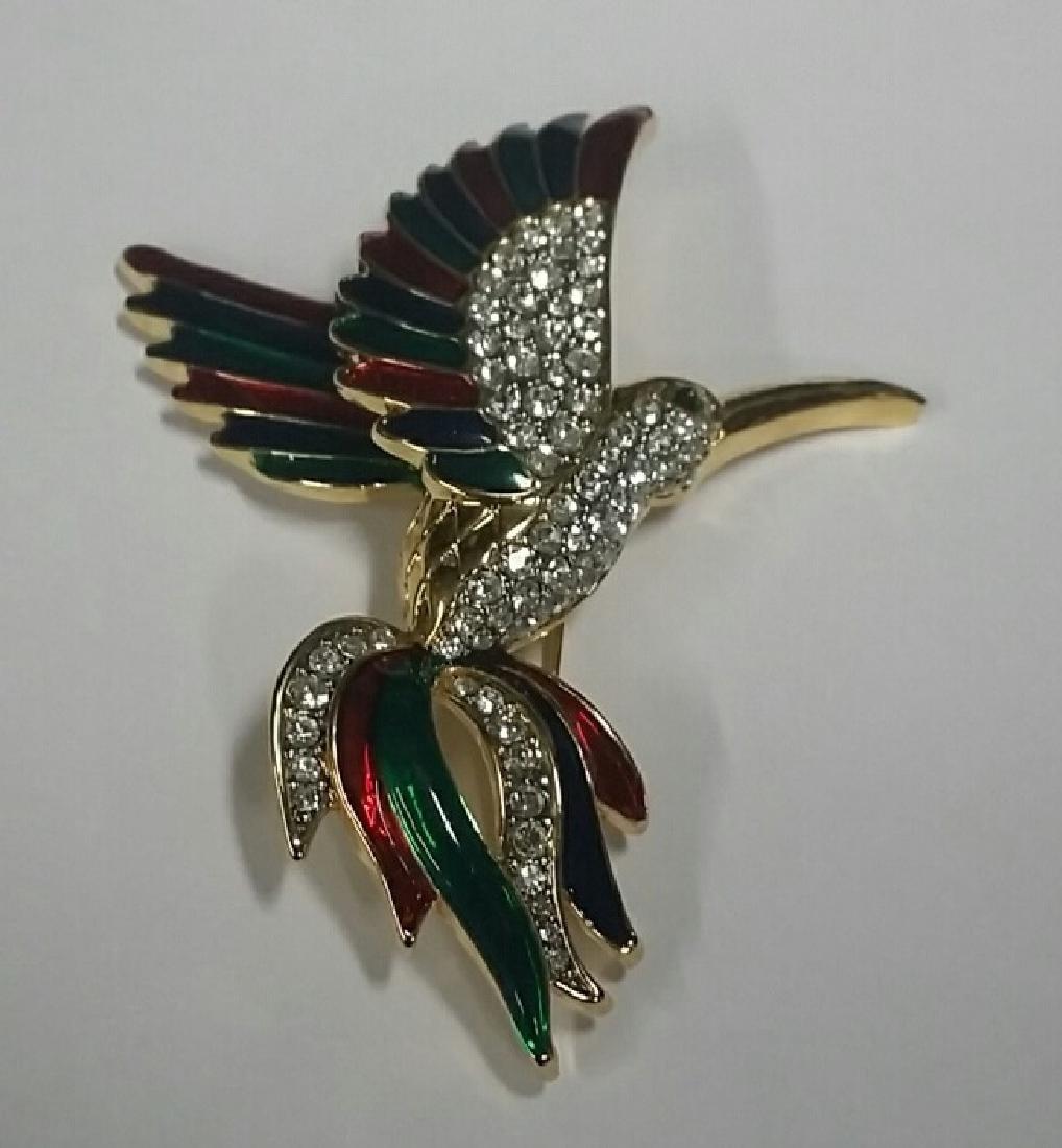 Large Enamel & Rhinestone Bird Brooch