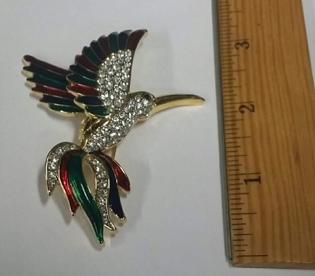 Large Enamel & Rhinestone Bird Brooch - 2