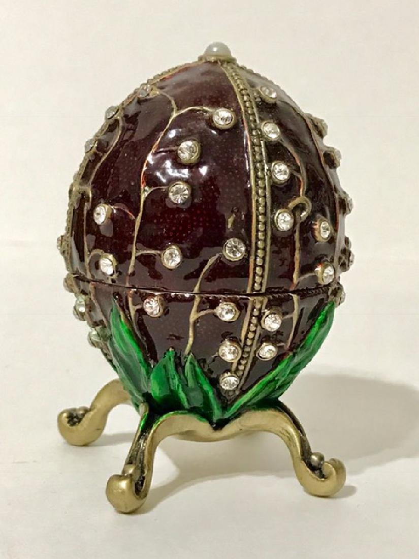 Signed FABERGE inspired Jeweled & Enameled EGG