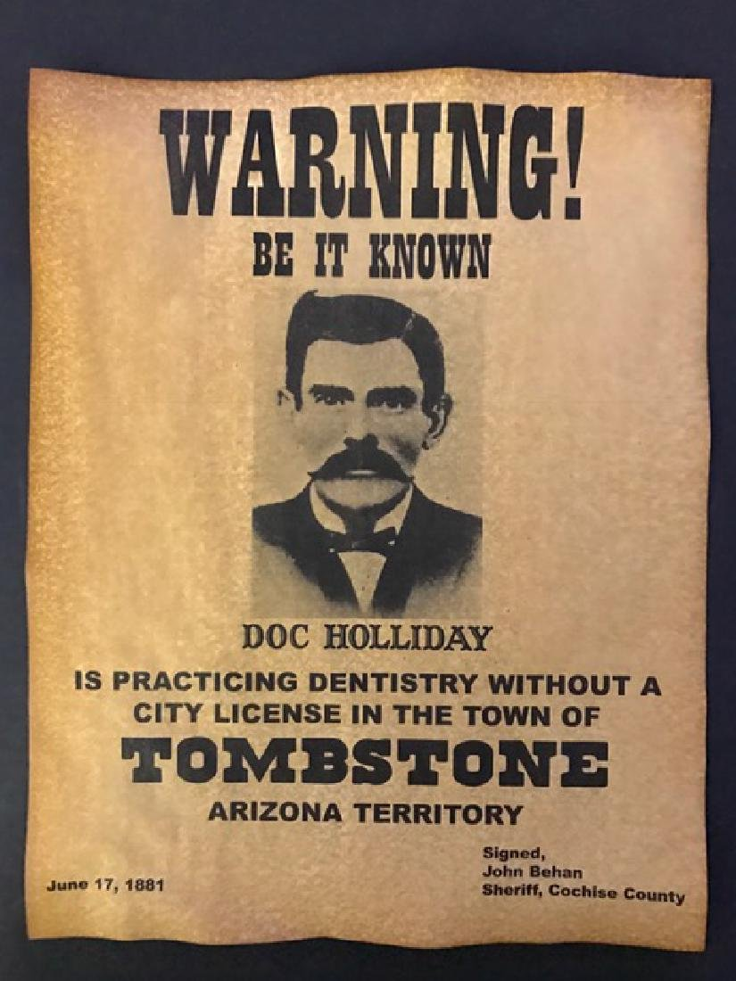DOC HOLLIDAY Practicing Dentistry Warning Poster