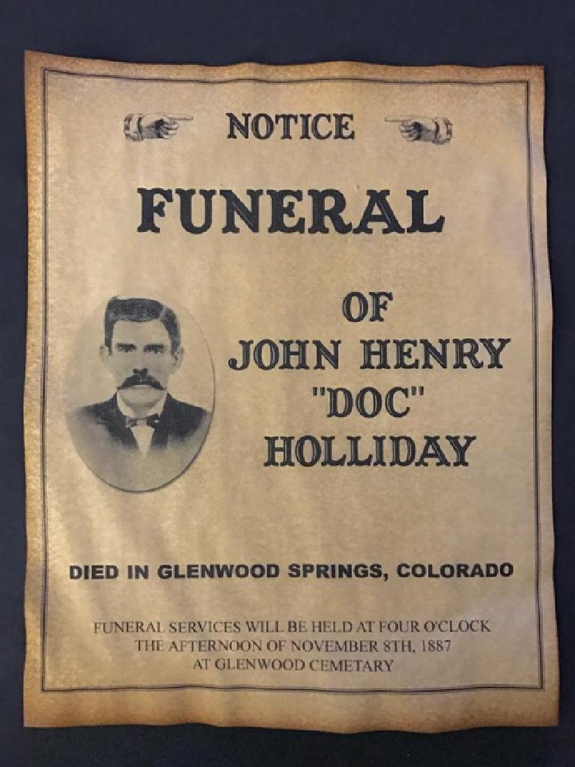 Dated 1887 DOC HOLLIDAY Funeral Notice Poster