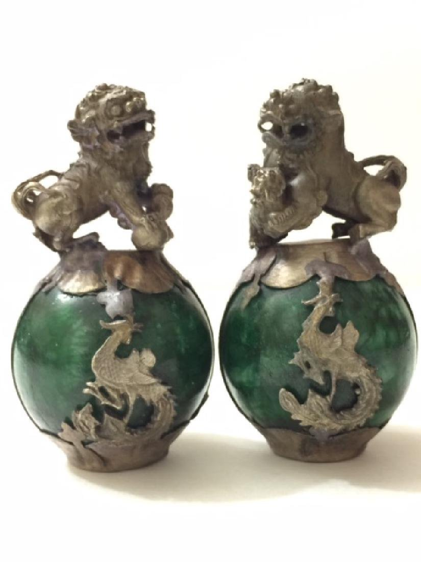 Chinese Folk Art JADE & Tibetan SILVER Foo Dogs