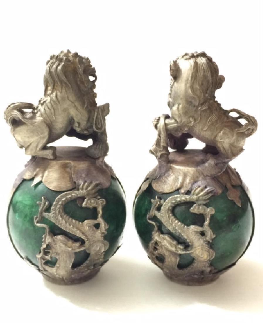 Chinese Folk Art JADE & Tibetan SILVER Foo Dogs - 2