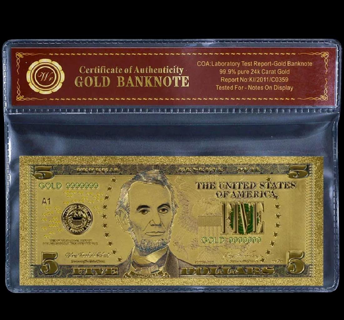 99.9% Pure 24k Lab Tested $5 Gold Foil Banknote