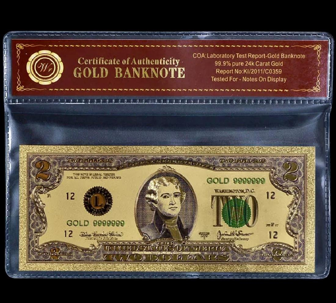 99.9% Pure 24k Lab Tested $2 Gold Foil Banknote