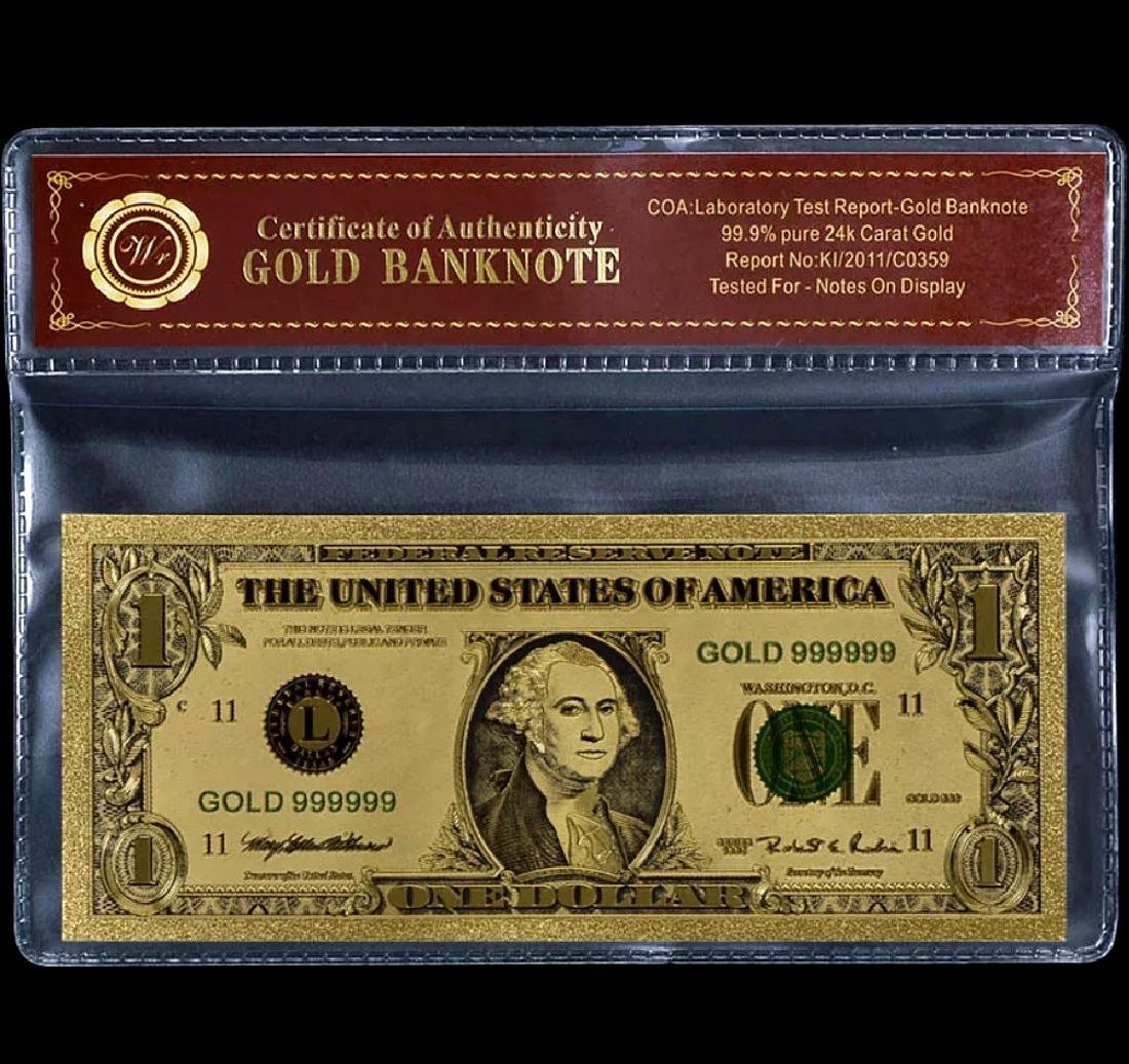 99.9% Pure 24k Lab Tested $ Gold Foil Banknote