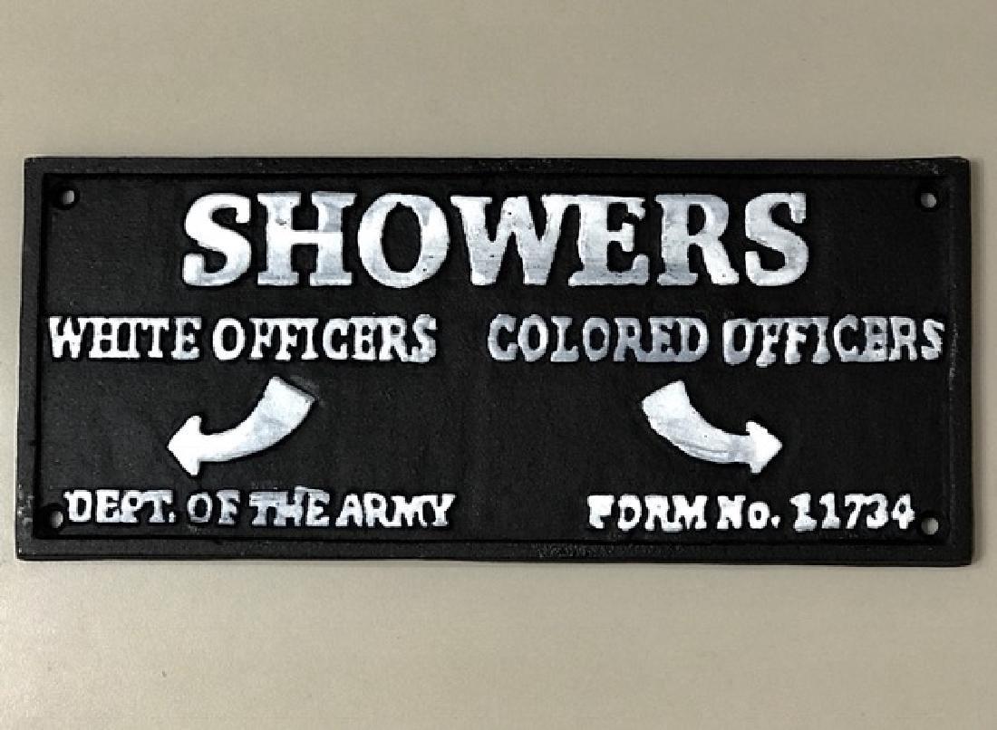 Black Americana Cast Iron Army Barracks Sign