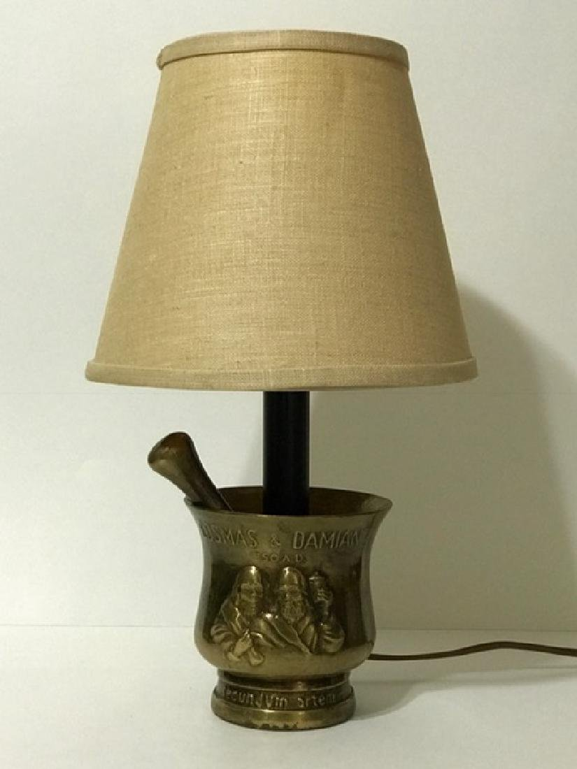 Unique Bronze Mortar & Pestle Based Working Lamp