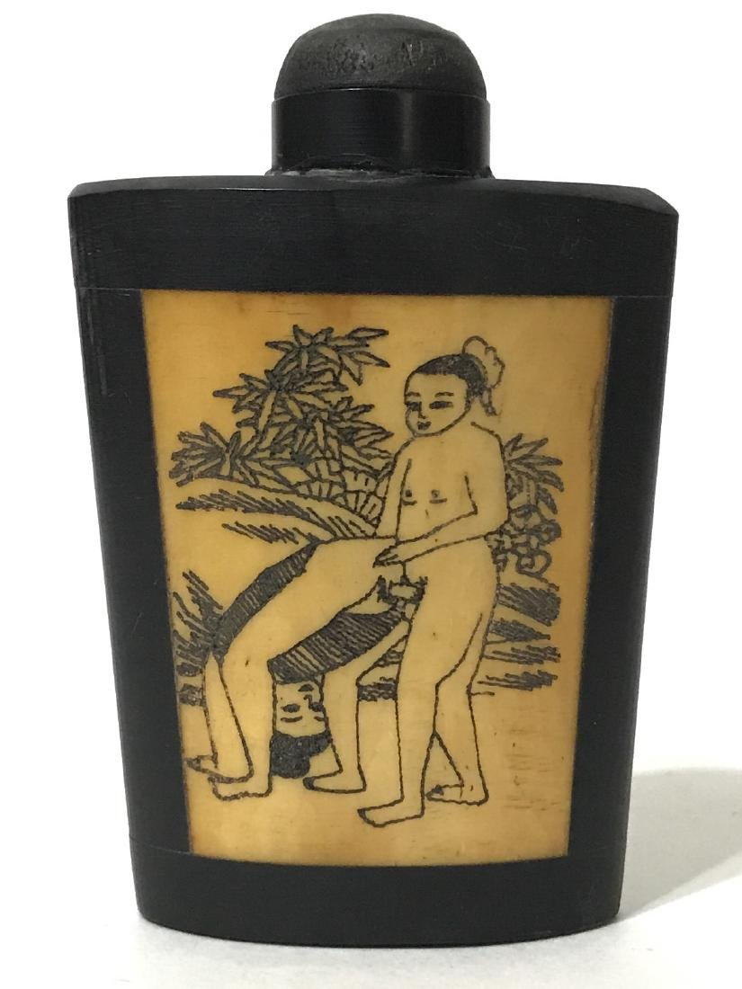 Erotic Scrimshaw Ox Bone Chinese Snuff Bottle