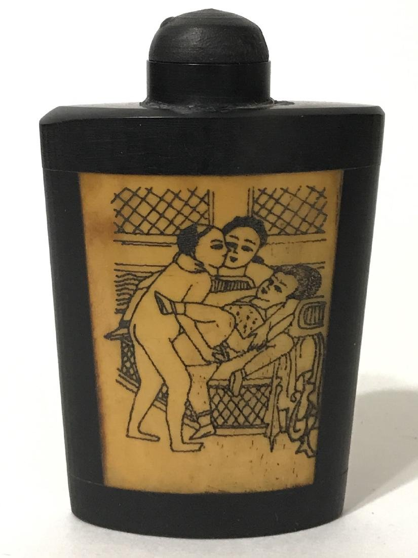 Erotic Scrimshaw Ox Bone Chinese Snuff Bottle - 2