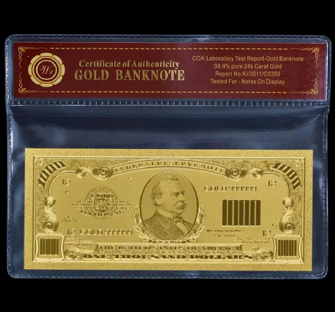 99.9% Pure 24k Lab Tested $1000 Gold Foil Banknote