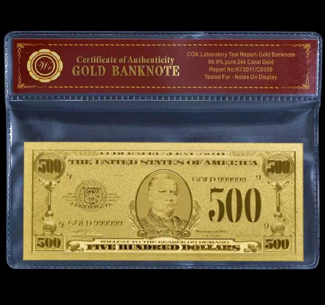99.9% Pure 24k Lab Tested $500 Gold Foil Banknote