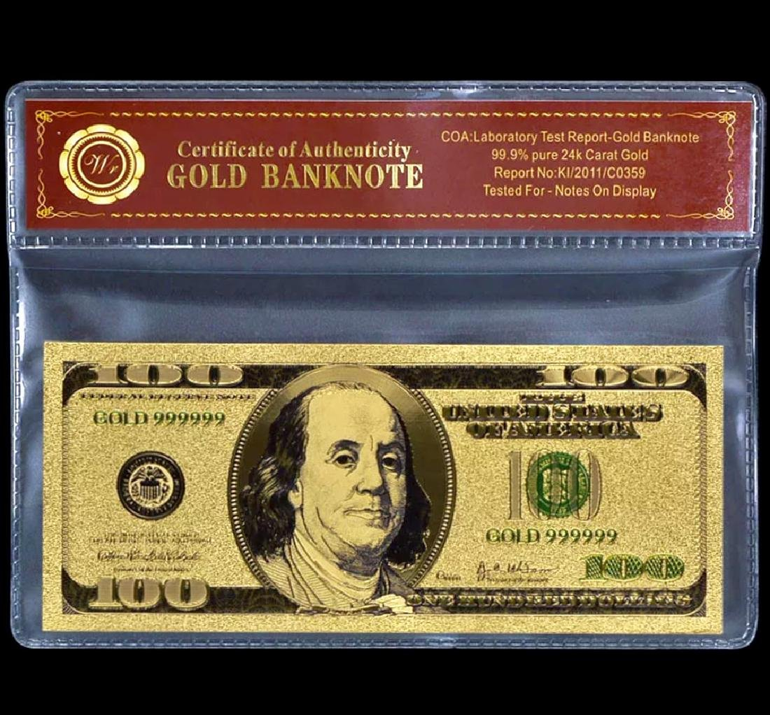 99.9% Pure 24k Lab Tested $100 Gold Foil Banknote