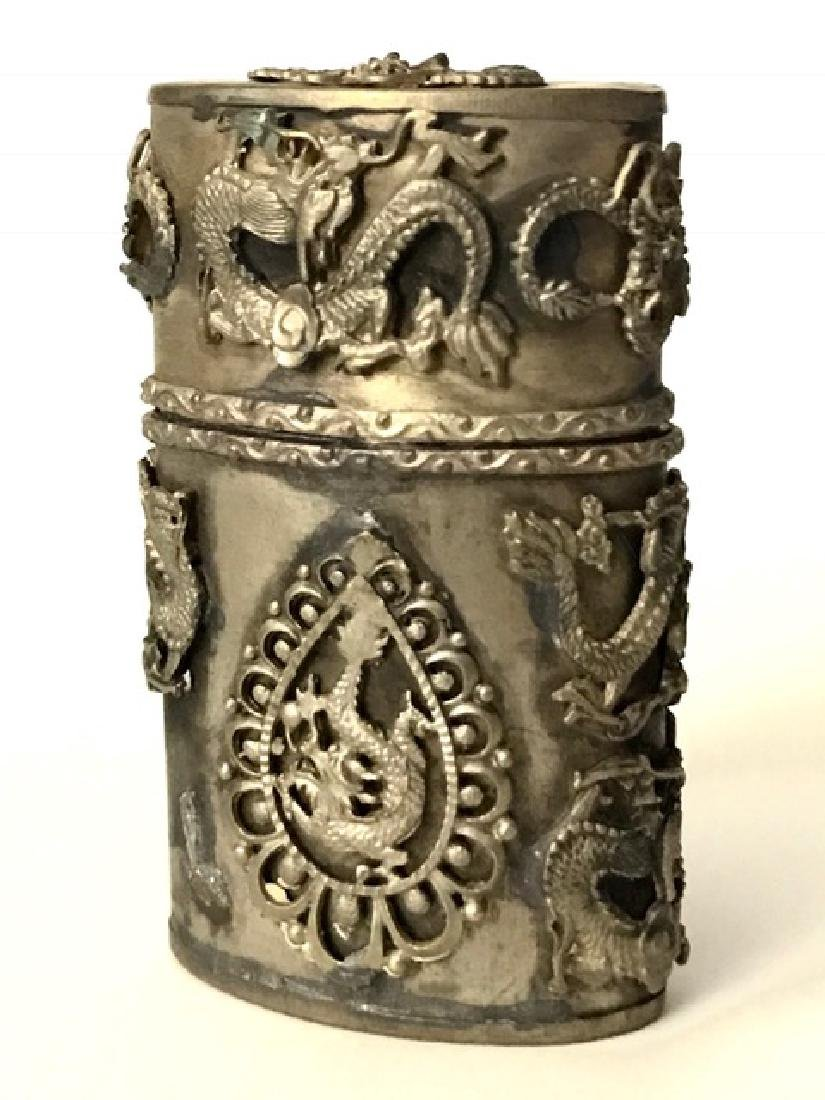 Antique Chinese Handmade Tibetan Silver Snuff Box