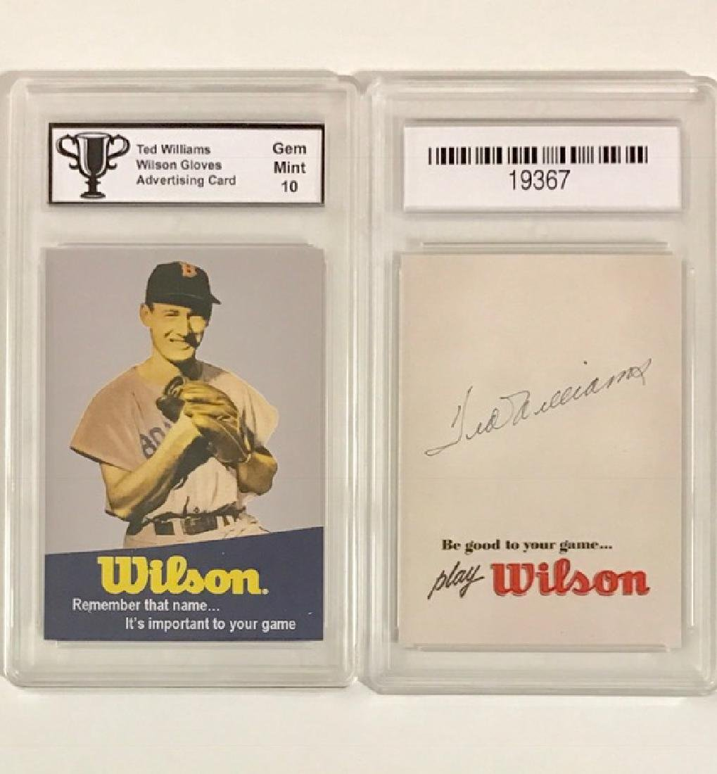 TED WILLIAMS Gem 10 Advertising Baseball Card