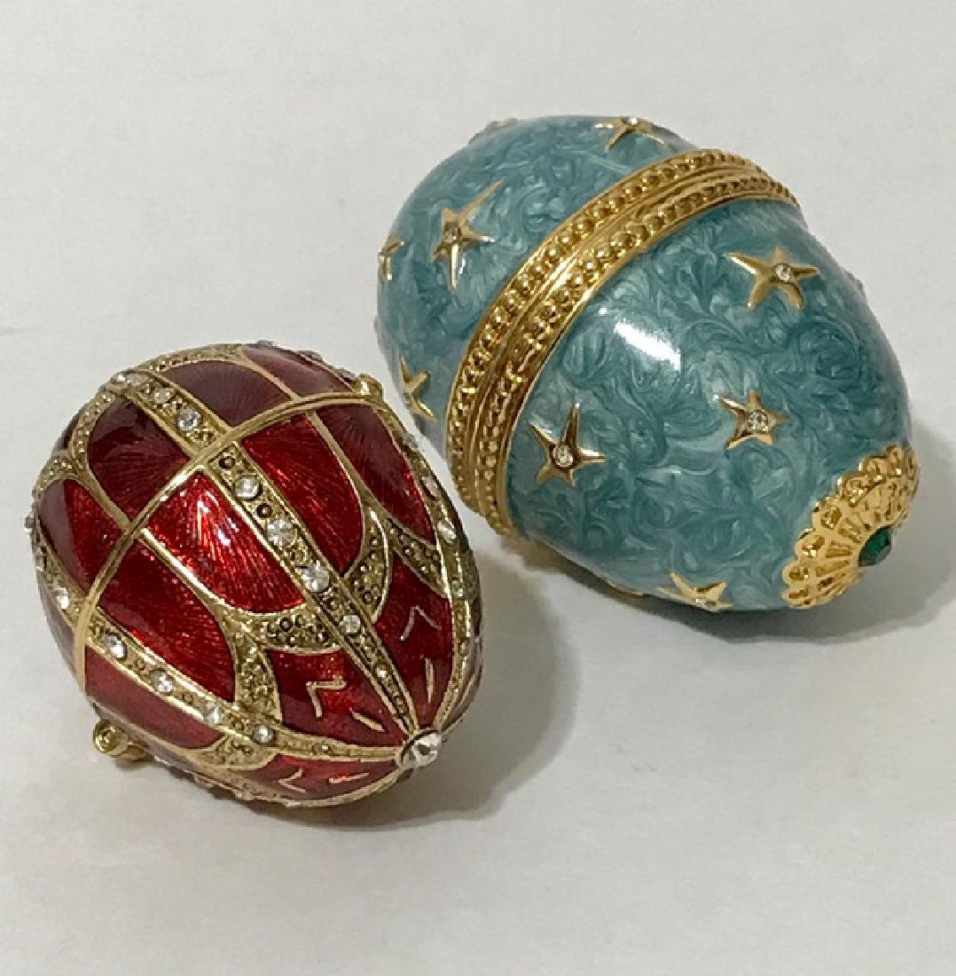 Lot of 2 Jeweled & Enameled Trinket Box EGGS
