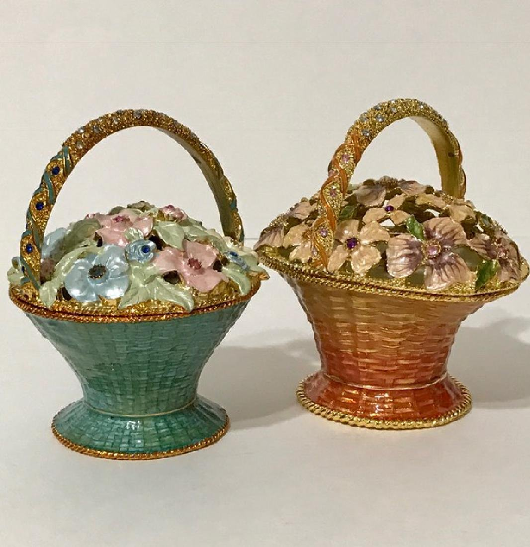 Lot of 2 Jeweled & Enameled Bouquet Music Boxes