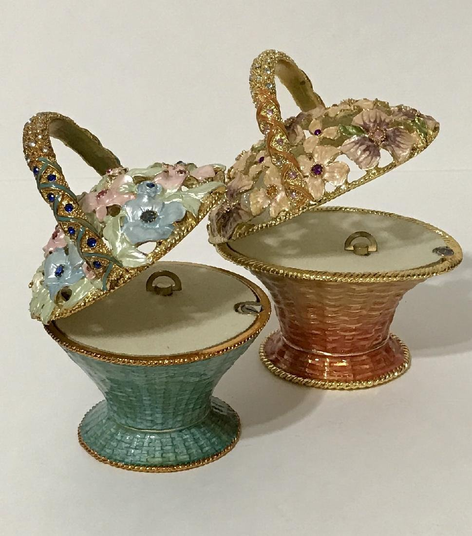 Lot of 2 Jeweled & Enameled Bouquet Music Boxes - 2