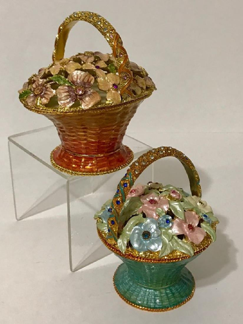 Lot of 2 Jeweled & Enameled Bouquet Music Boxes - 3