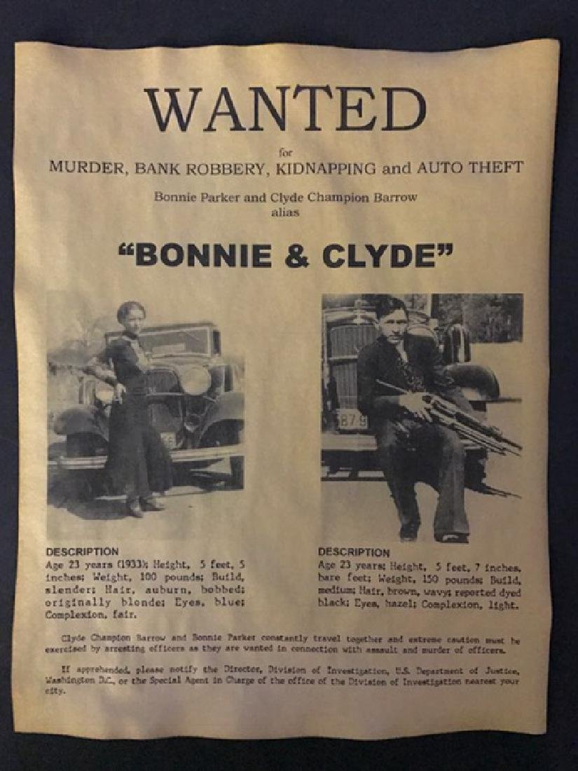 Infamous BONNIE & CLYDE Wanted Reward Poster