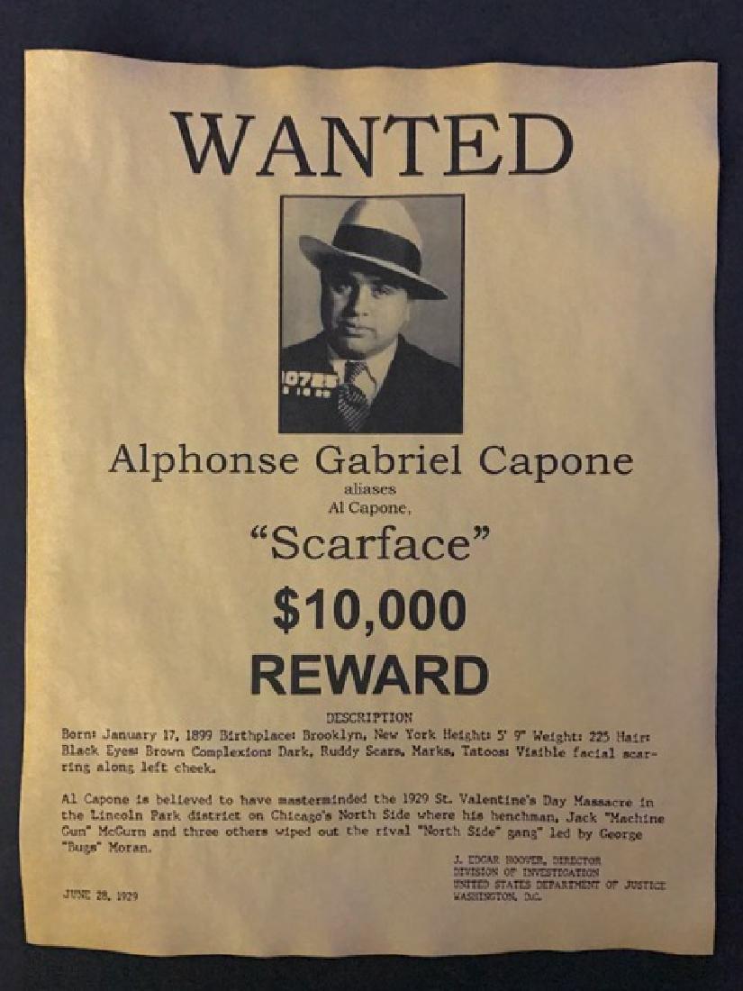 1929 - AL CAPONE Wanted Reward Poster