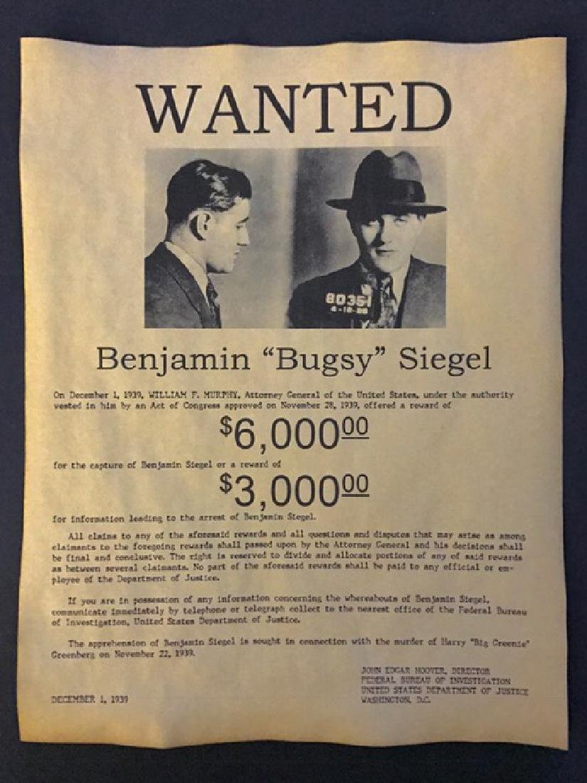 Dated 1939 – BUGSY SIEGEL Wanted Reward Poster