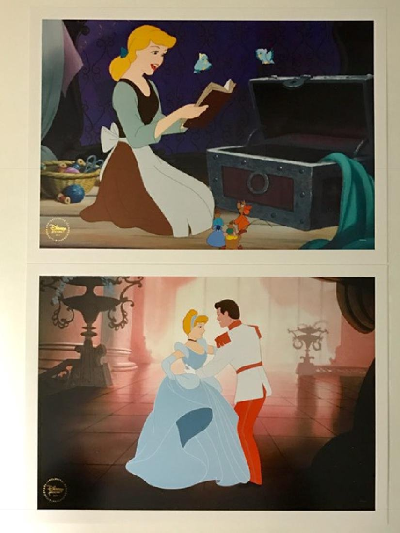 ) Lot of 2 Authentic Disney CINDERELLA Lithographs