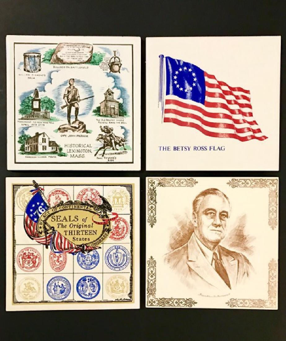 Lot of 4 Rare Signed U.S. History Ceramic Tile Art