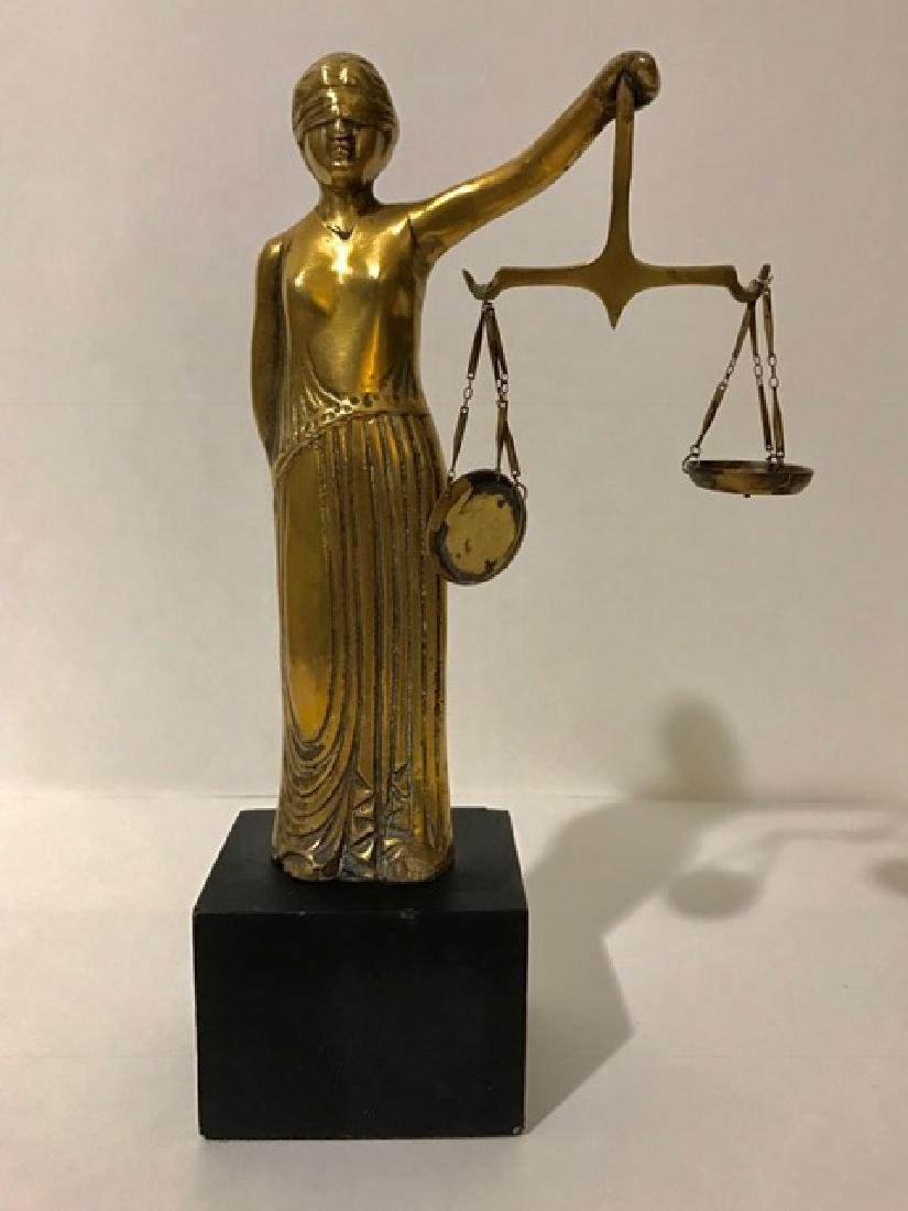 Circa 1920's/30's Solid Brass LADY JUSTICE Statue