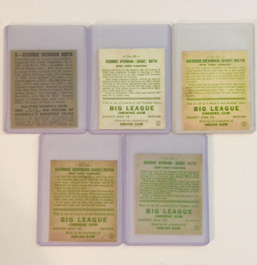 Lot of 5 BABE RUTH Exact RP Baseball Cards - 2