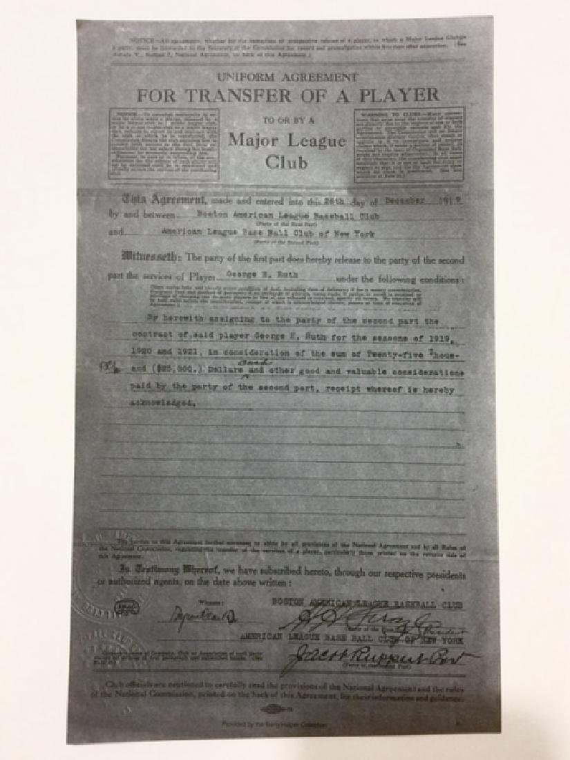 1919 BABE RUTH Player Transfer/Sale Contract