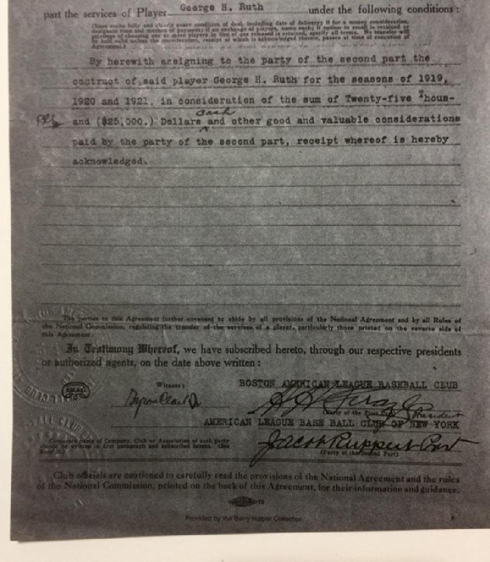 1919 BABE RUTH Player Transfer/Sale Contract - 3
