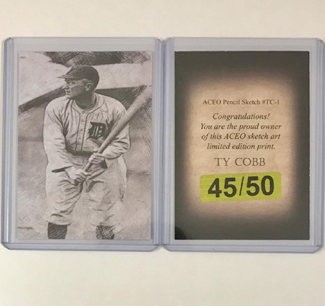 Rare TY COBB Pencil Sketch Art Baseball Card