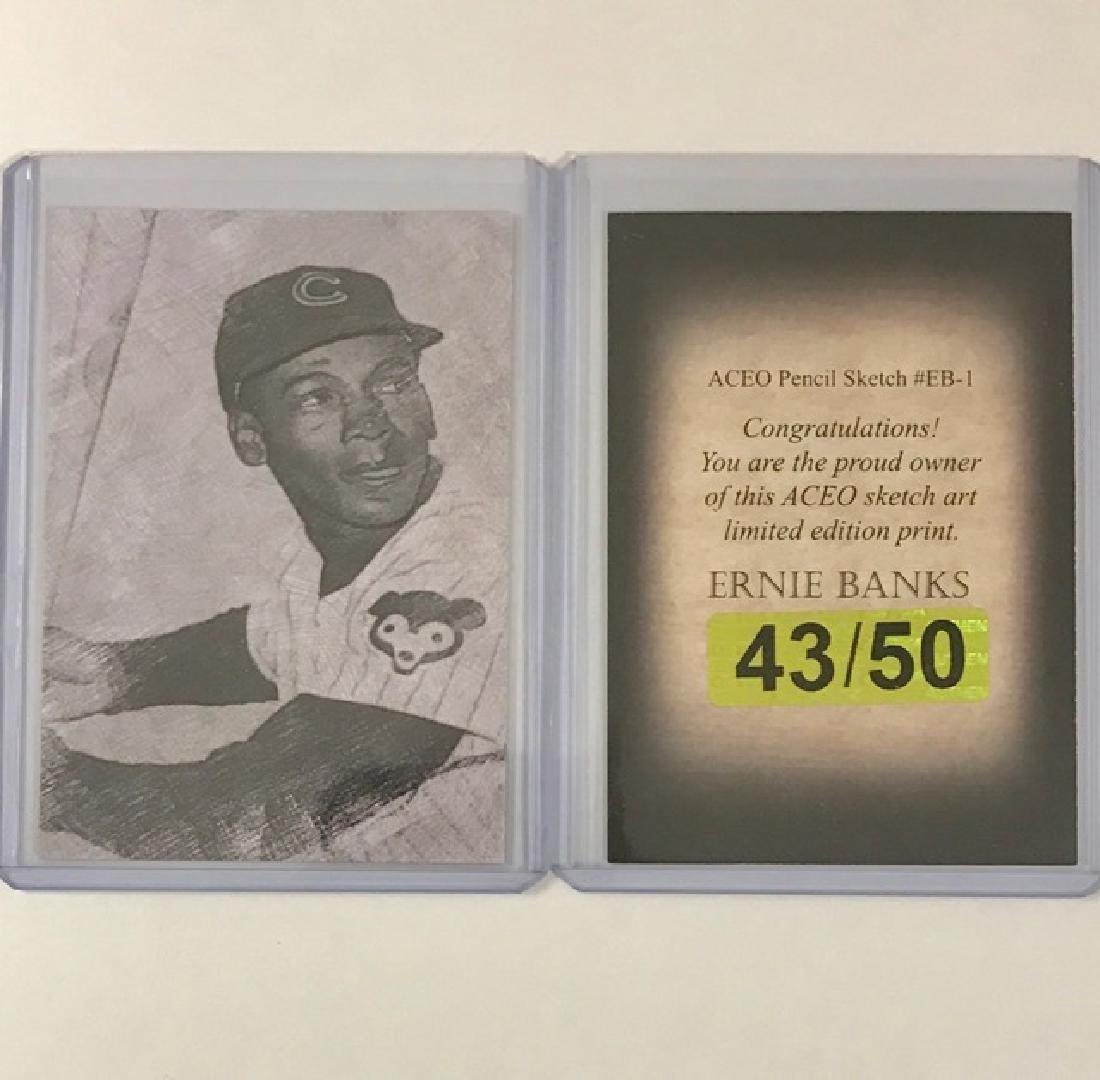 Rare ERNIE BANKS Sketch Art Baseball Card