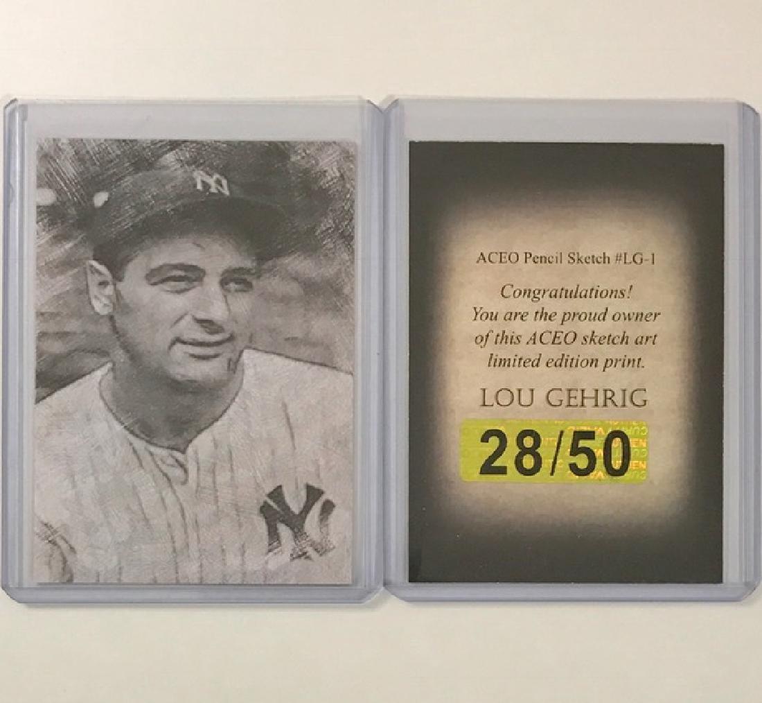 Rare LOU GEHRIG Sketch Art Baseball Card
