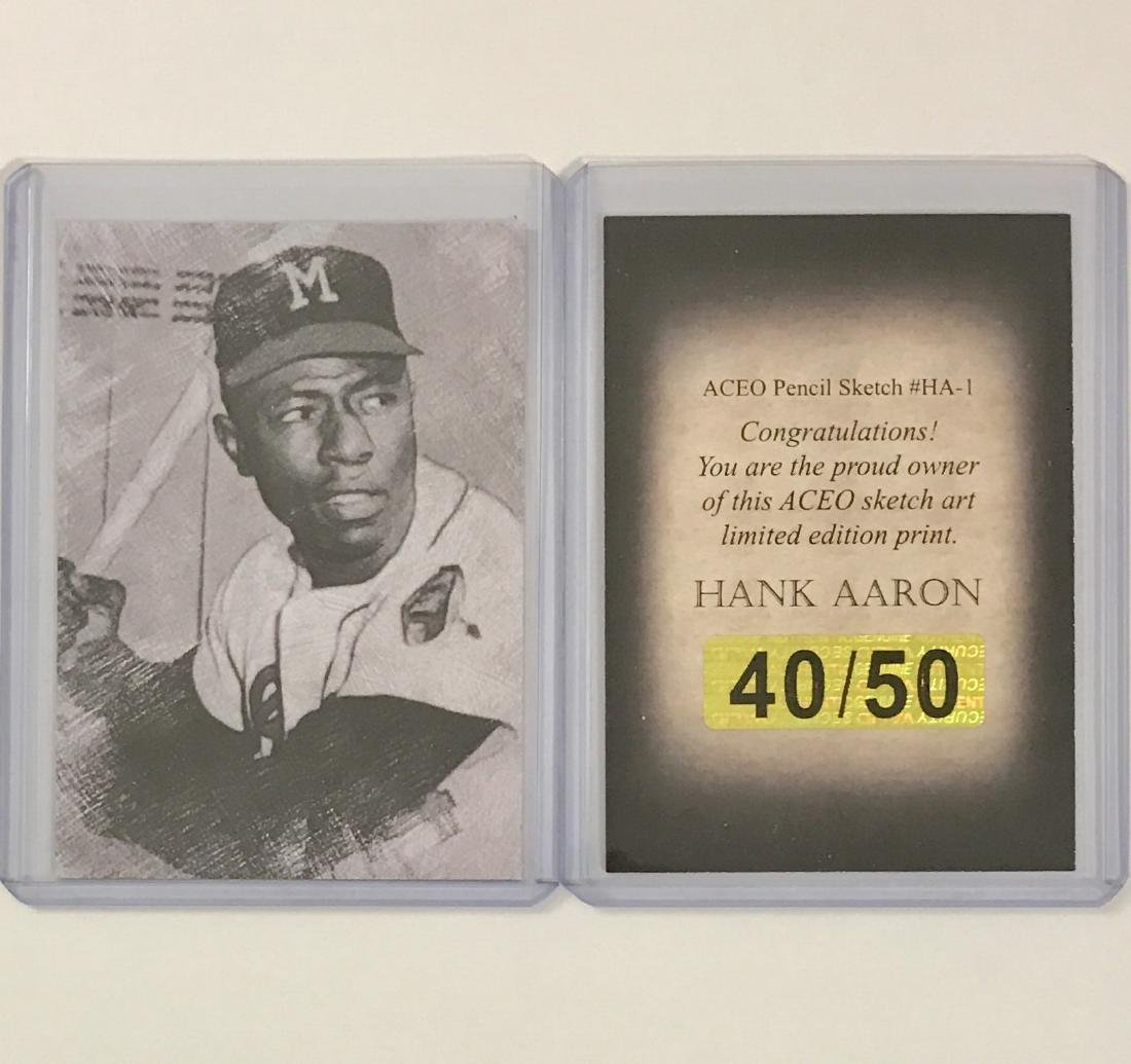 Rare HANK AARON Sketch Art Baseball Card