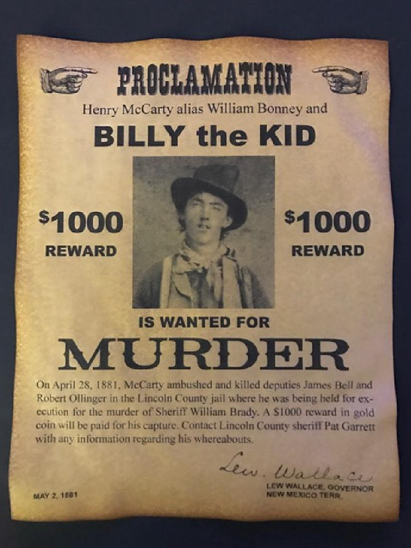"""Old West - """"BILLY the KID†Wanted Reward Poster"""