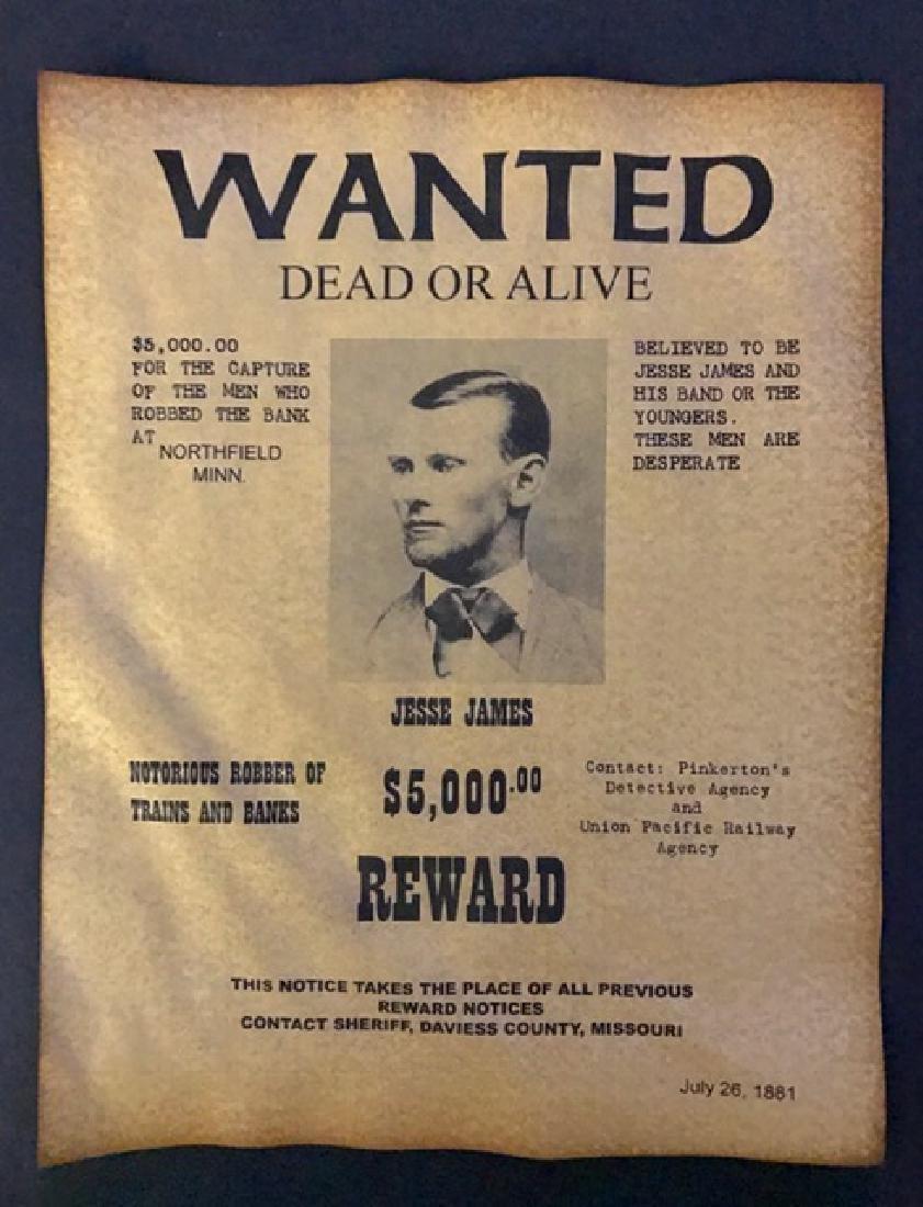JESSE JAMES Wanted Dead or Alive Reward Poster