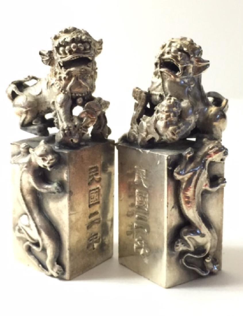 Solid Tibet Silver KYLIN Temple Guardian FOO DOGS - 2