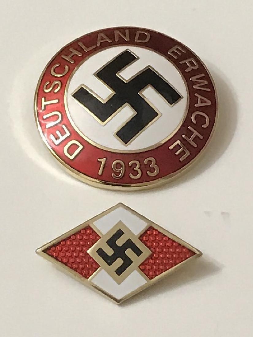 Lot of 2 Nazi Germany Swastika Enameled Pins