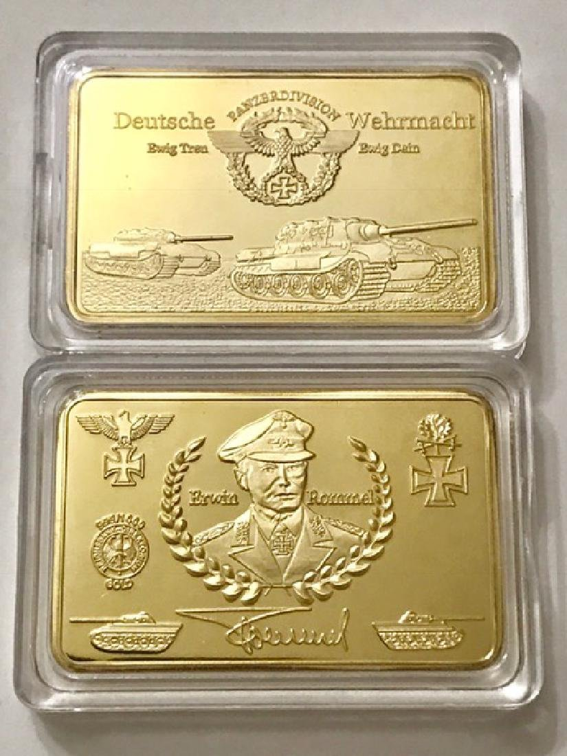 WW2 Erwin Rommel German .999 Gold clad Bullion Bar