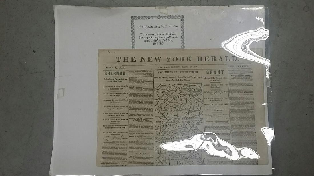 Genuine Civil War New York Herald Newspaper