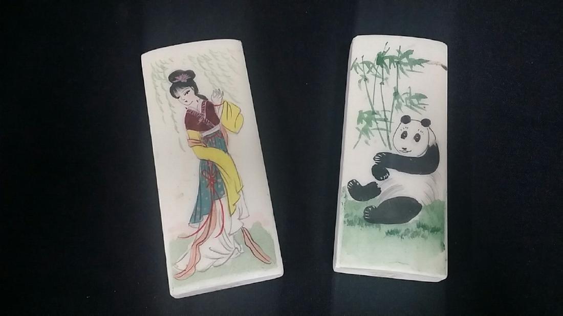 Vintage Oriental Hand Painted Marble Wrist Rests