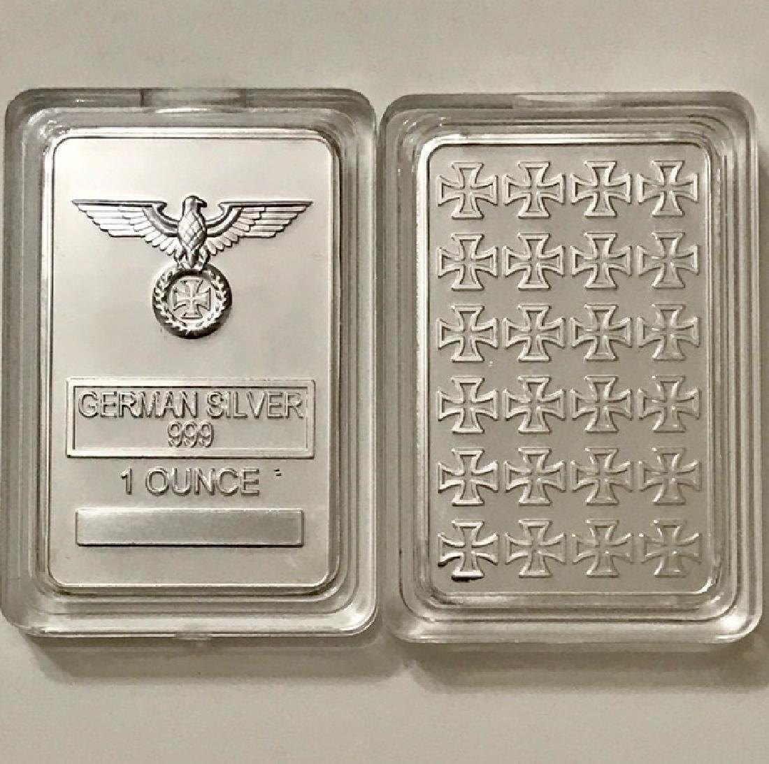 1 Oz .999 Iron Cross German Silver Bullion Bar