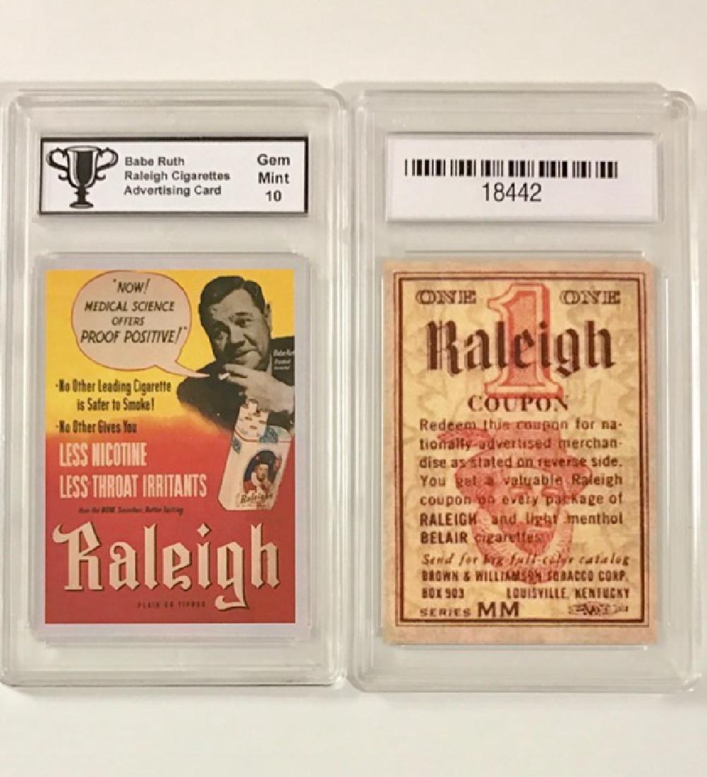 BABE RUTH Gem Mint 10 Advertising Baseball Card