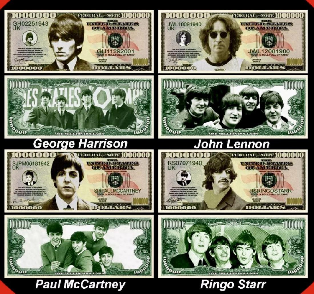 """""""The BEATLES"""" Federal Banknote Funny Money Bills - 2"""