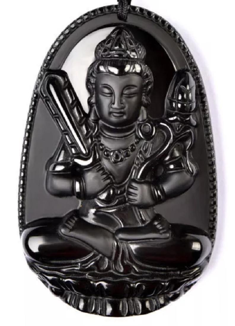 Ornate Black Jade Chinese Exorcism Buddha Amulet